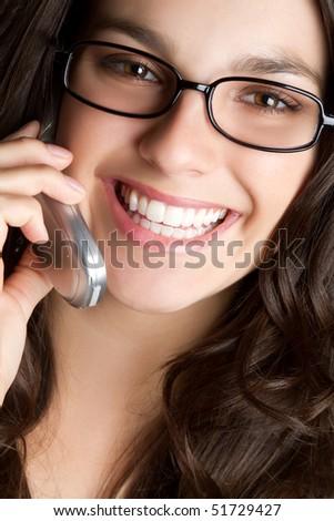 Smiling Phone Woman - stock photo