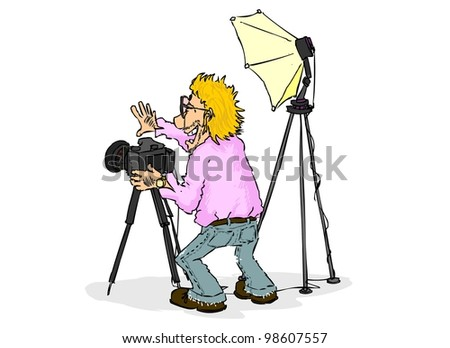 Smiling photographer is going to take a picture - stock photo