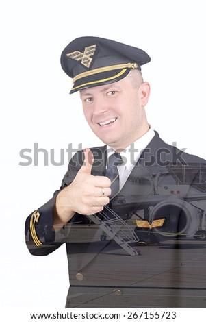 Smiling pilot with his thumb up with the effect of double exposure - stock photo
