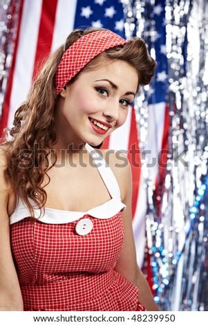 Smiling Pin-up girl. - stock photo