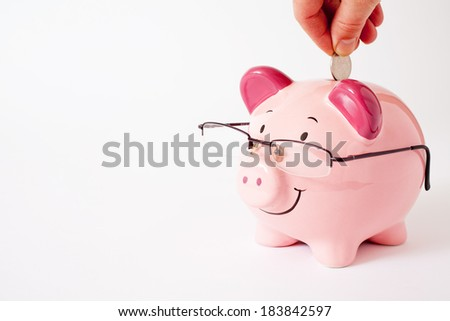 Smiling pink piggy bank wearing glasses - stock photo