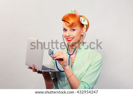 Smiling pinup girl listening computer with stethoscope looking at you retro vintage hairstyle Healthcare diagnosis software repair diagnostics internet threat security safety problem solving concept - stock photo