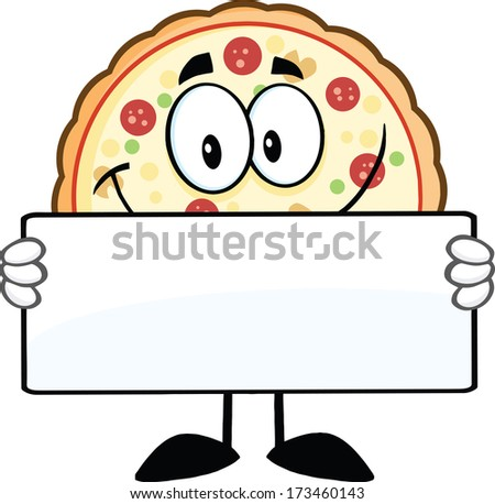 Smiling Pizza Cartoon Mascot Character Holding A Sign. Raster Illustration Isolated on white - stock photo