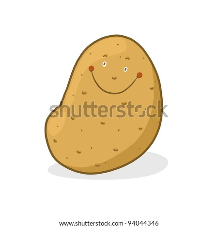 Smiling potato illustration; Isolated sweet potato Cartoon - stock photo
