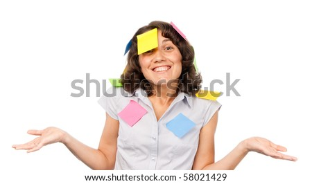 Smiling pretty girl with many stickers - stock photo