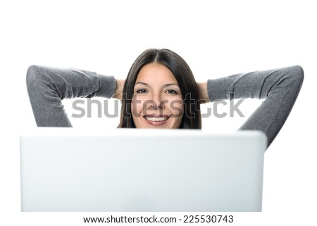 Smiling Pretty Woman Relaxing with Hands at the Back of Head While Looking Up, After Computer Works. Isolated on White Background. - stock photo