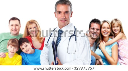 Smiling professional Family doctor. Health care banner background. - stock photo