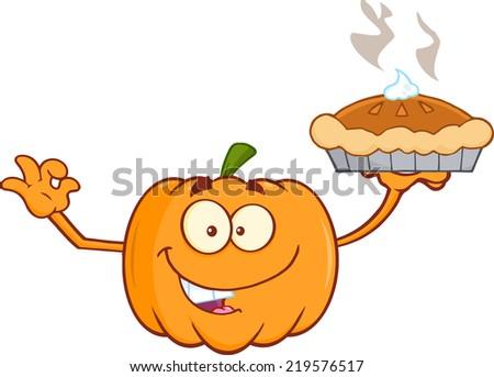 Smiling Pumpkin Cartoon Mascot Character Holding Perfect Pie. Raster Illustration - stock photo
