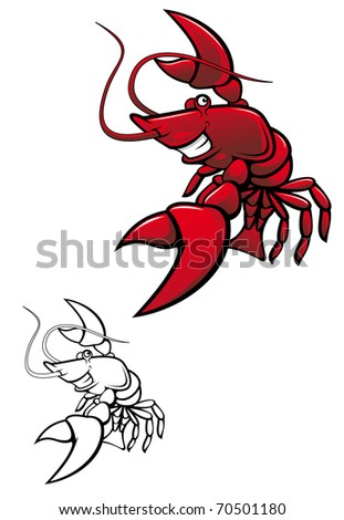 Smiling red crayfish or shrimp isolated on white - also as emblem or logo template. Vector version also available in gallery - stock photo