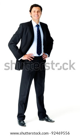 Smiling relaxed businessman poses for a full length portrait, isolated on white - stock photo