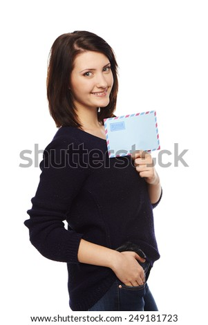 Smiling relaxed businesswoman showing blank envelope banner, over white background. - stock photo