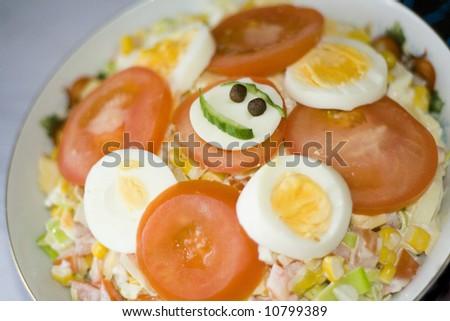smiling salad. healthy food - stock photo