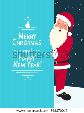 Smiling Santa Claus wearing red hat and glasses holds a banner with merry chrismas and happy new year text. Greeting card or flyer template design with copy space - stock photo