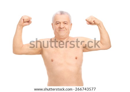 Smiling senior man in underwear showing his biceps isolated on white background - stock photo