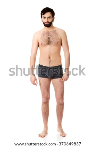 Smiling shirtless man. - stock photo