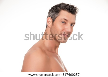 smiling shirtless man portrait isolated - stock photo