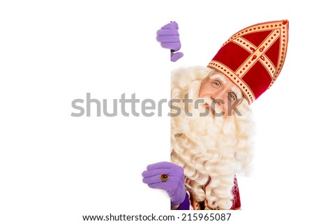 Smiling Sinterklaas with white board. isolated on white background. Dutch character of Santa Claus - stock photo
