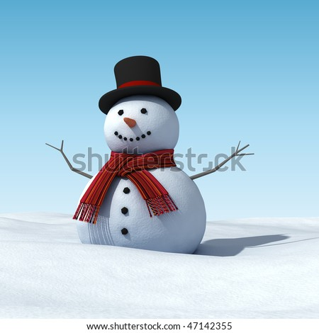 smiling snowman halfway in the snow - stock photo