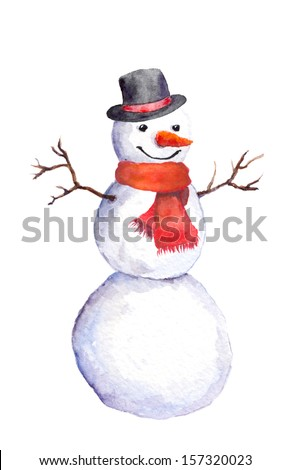 Smiling snowman with carrot, top hat and red scarf - stock photo