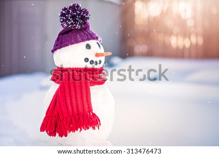 Smiling snowman with purple hat and red scarf - stock photo