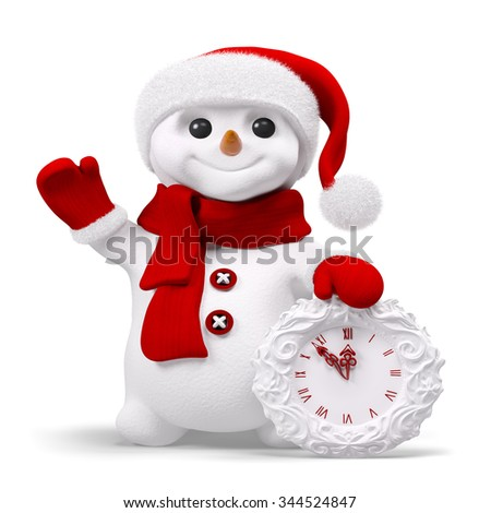 Smiling snowman with red santa hat holding christmas clock isolated over white 3d rendering - stock photo