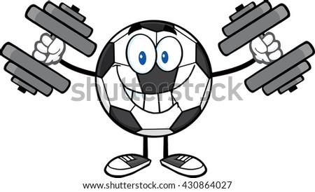 Smiling Soccer Ball Cartoon Mascot Character Working Out With Dumbbells. Raster Illustration Isolated On White Background - stock photo