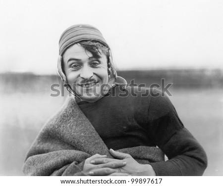 Smiling sportsman - stock photo