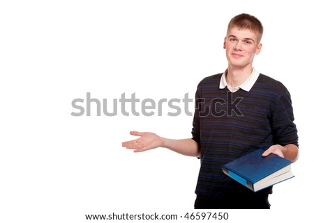 Smiling student with a book. Over white background - stock photo