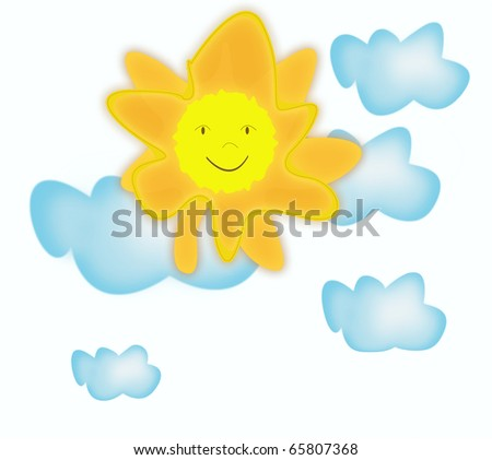 Smiling sun and clouds - stock photo