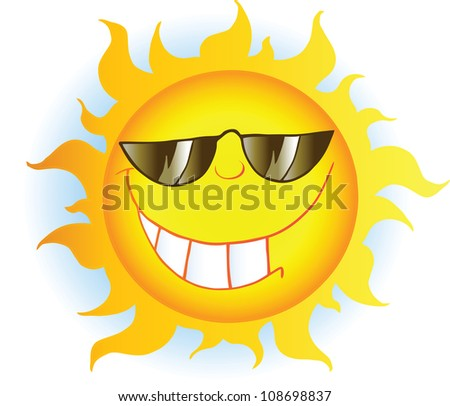 Smiling Sun Cartoon Mascot Character With Sunglasses . Raster Illustration.Vector version also available in portfolio. - stock photo