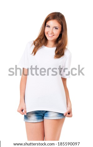 Smiling teen girl in blank white t-shirt isolated on white background - stock photo