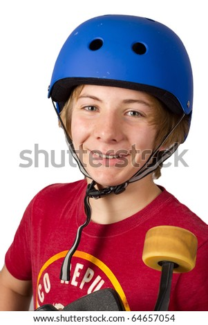 Smiling Teenage Boy with Safety Helmet Holding a Skateboard - stock photo