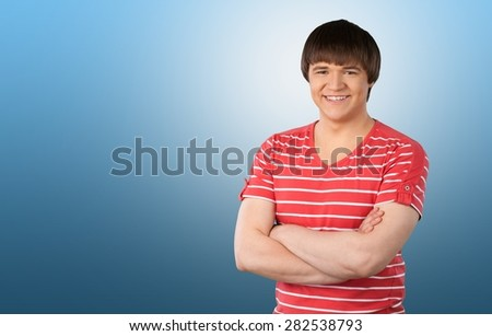 Smiling, Teenager, Isolated. - stock photo