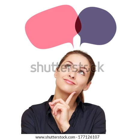 Smiling thinking woman with two web color bubbles above head. Isolated - stock photo