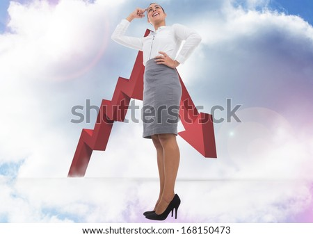 Smiling thoughtful businesswoman against closed and open doors in sky - stock photo