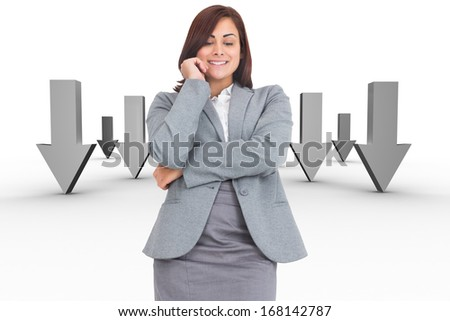 Smiling thoughtful businesswoman against open door in sky - stock photo
