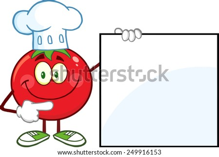 Smiling Tomato Chef Cartoon Mascot Character Pointing To A Blank Sign. Raster Illustration Isolated On White - stock photo