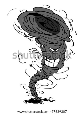 Smiling tornado in cartoon style for weather design. Vector version also available in gallery - stock photo