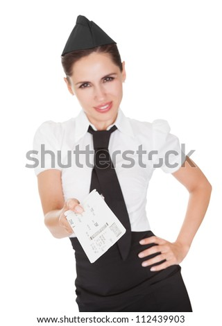 Smiling welcoming giving hostess presenting a voucher in her hands isolated on white - stock photo