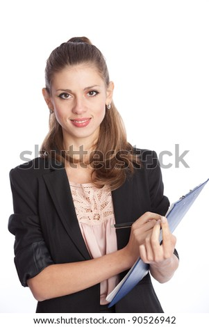 smiling white woman with planning on over white - stock photo