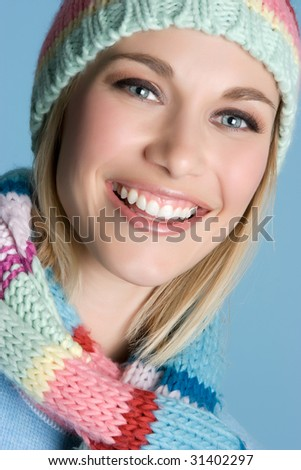 Smiling Winter Woman - stock photo