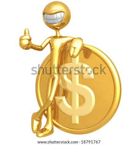 Smiling With Dollar Coin - stock photo