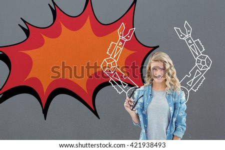 Smiling woman holding eyeglasses at desk against digital drawing of mechanics - stock photo