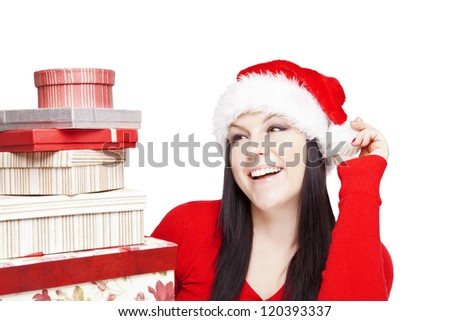 smiling woman holding presents isolated over white background - stock photo