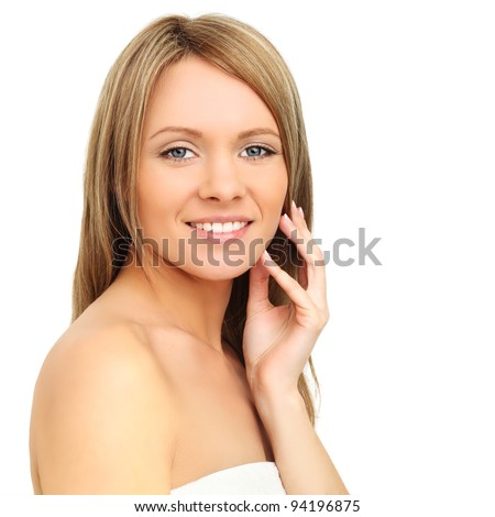 Smiling woman isolated on white - spa beauty - stock photo