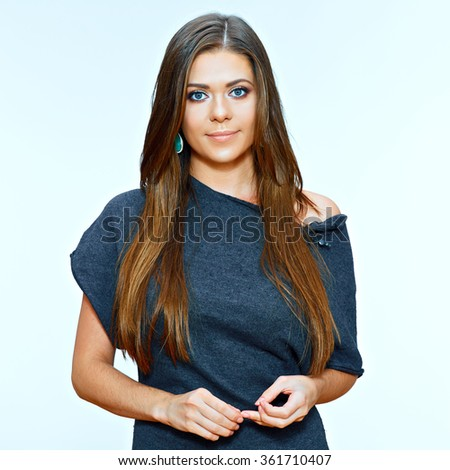 Smiling woman isolated portrait. Black dress. Long hair. Beauty face. - stock photo