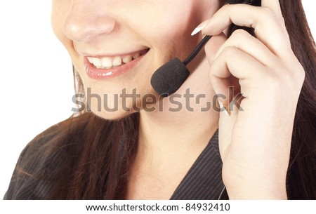 Smiling woman operator with headset - stock photo