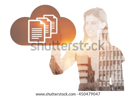Smiling woman pointing something with her finger against documents inside cloud - stock photo