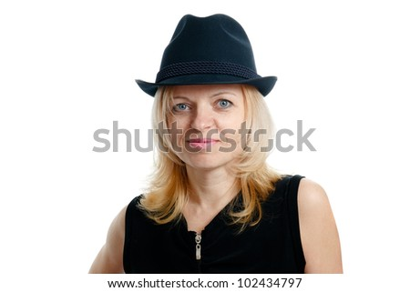 smiling woman with a black hat and black shirt on white background - stock photo