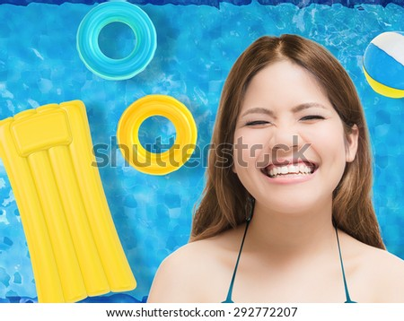 smiling woman with pool top background - stock photo